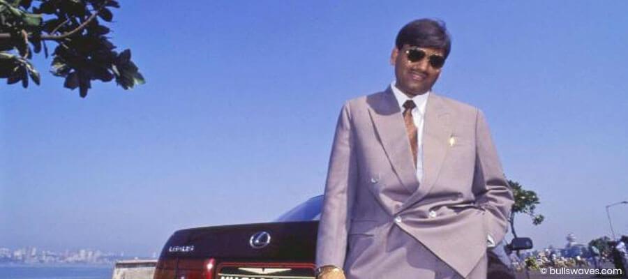 Harshad Mehta with his Toyota Lexus 1992